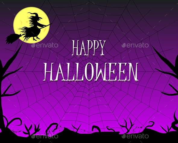 Happy Halloween Background with Silhouettes - Halloween Seasons/Holidays