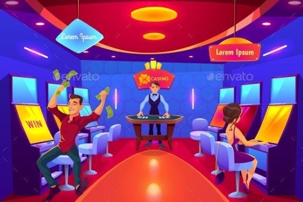 Casino Clients in Gambling Hall Cartoon Vector - Industries Business