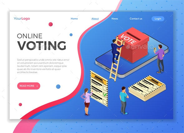 Online Internet Voting Isometric Concept - Web Technology