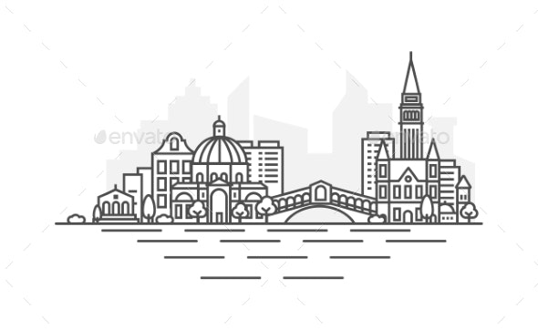 Venice Italy Architecture Line Skyline - Buildings Objects