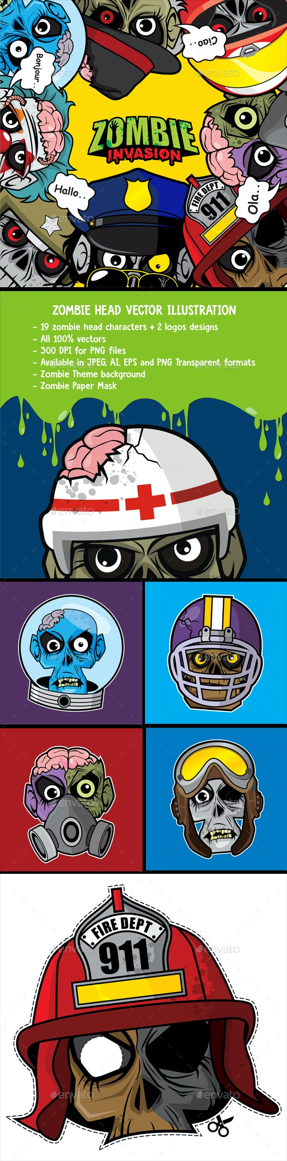 Zombie Head Vector Illustration - Monsters Characters