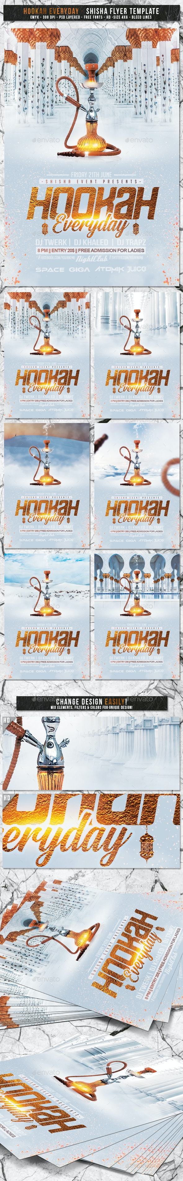 Hookah Everyday | 6 Designs Shisha Flyer Template - Events Flyers