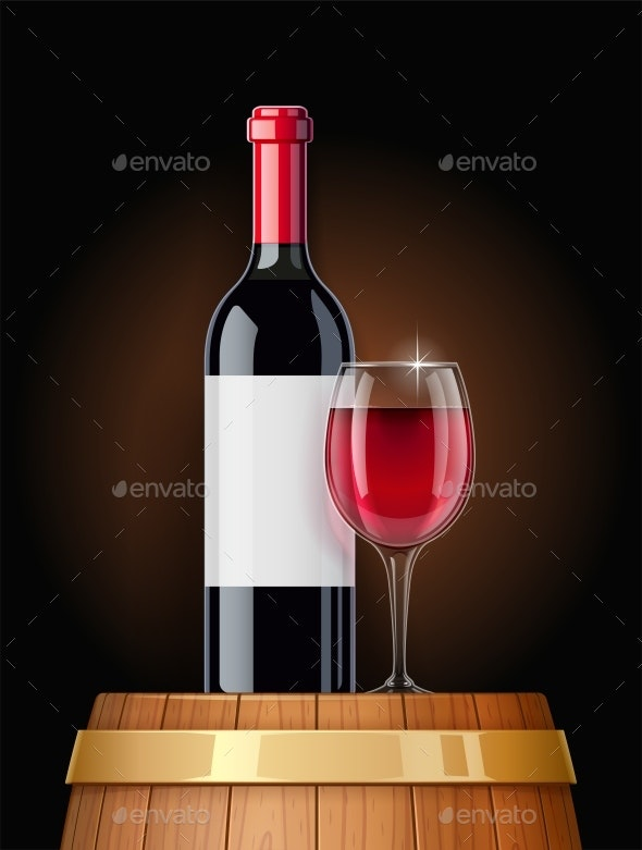 Wooden Barrel with Wine Bottle and Wineglass - Food Objects