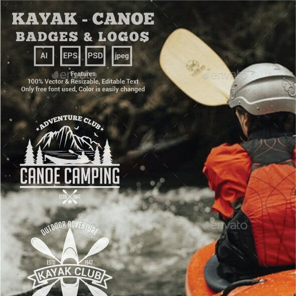 Kayak - Canoe Badges & Logos