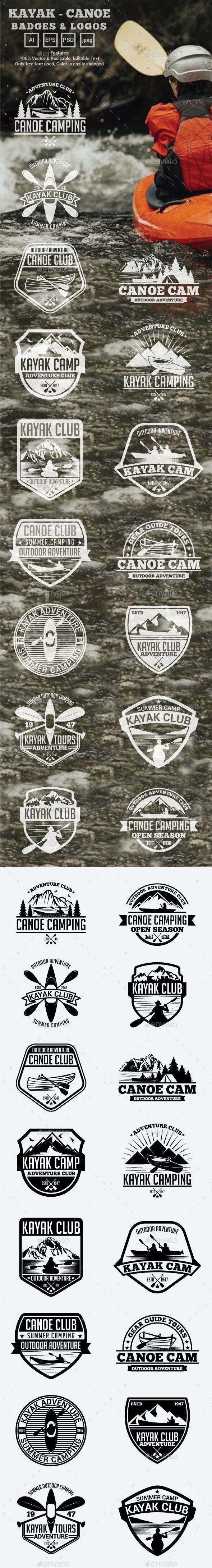 Kayak - Canoe Badges & Logos - Badges & Stickers Web Elements