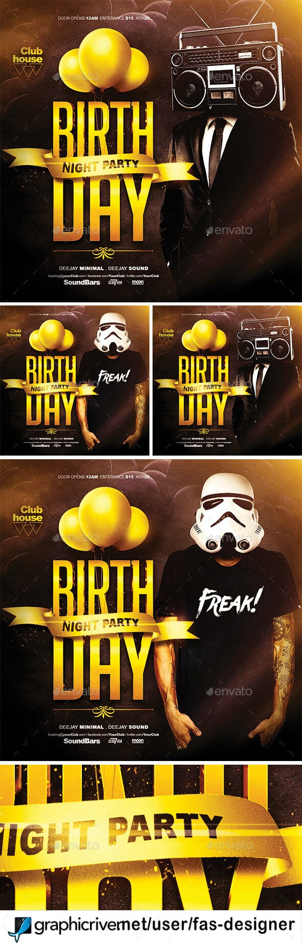 Birthday Flyer template - Clubs & Parties Events