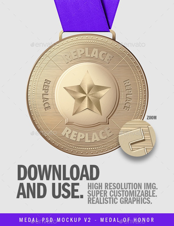 Medal .PSD Mockup V2 - Metal of Honor - Illustrations Graphics