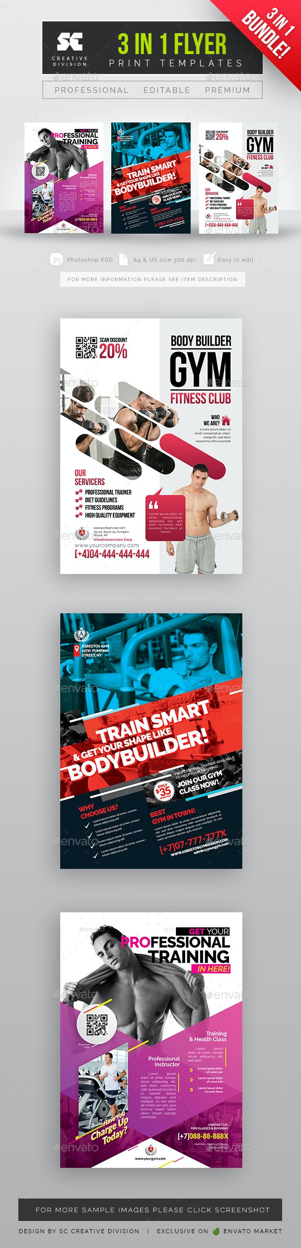 Gym Flyer Bundle 3 in 1 - Sports Events