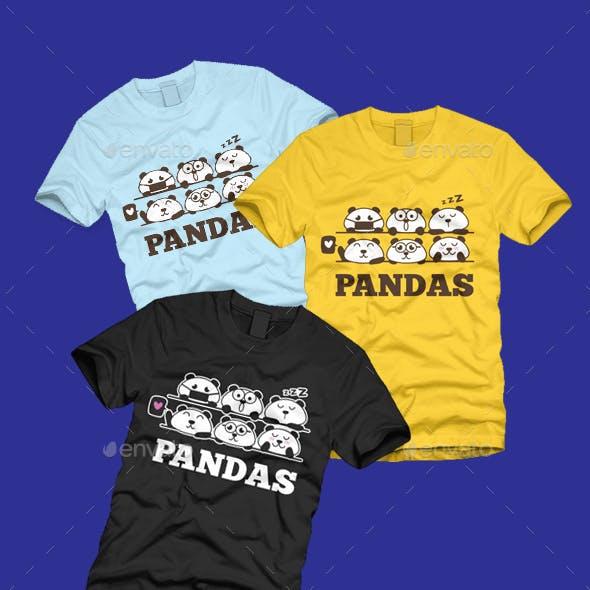 Funny Cartoon Pandas Emoji T-shirt