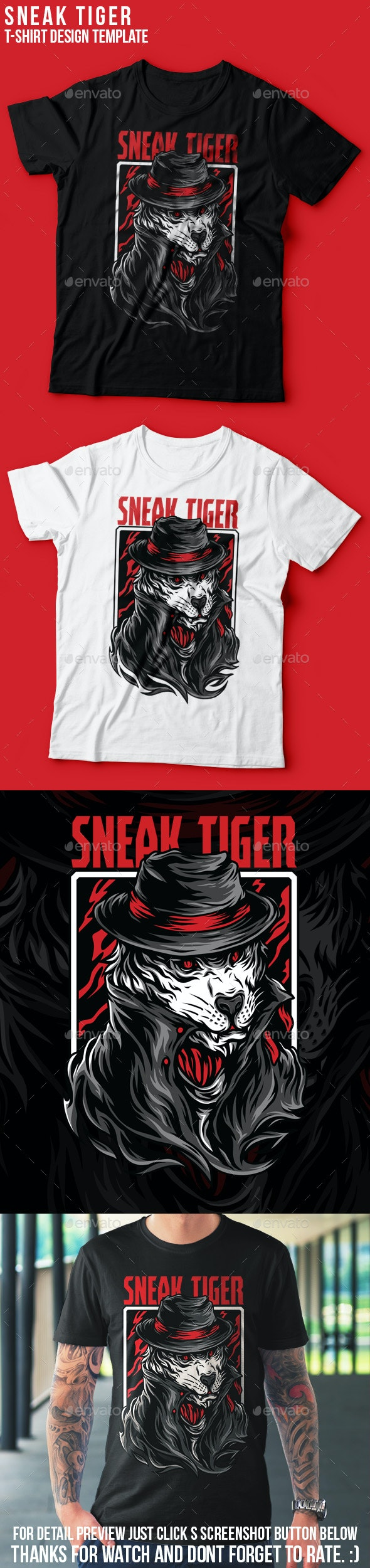 Sneak Tiger T-Shirt Design - Grunge Designs