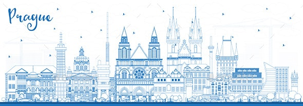 Outline Prague Czech Republic City Skyline with Blue Buildings. - Buildings Objects