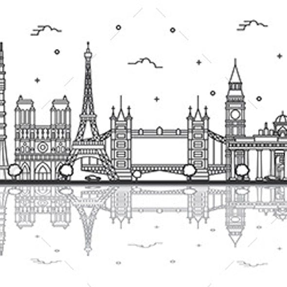 Outline Famous Landmarks in Europe with Reflections