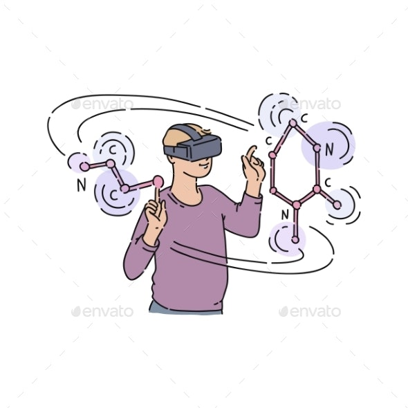 Vector Flat Young Man in Virtual Reality Headset - People Characters