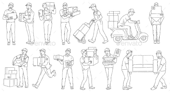 Set of Male Workers From Different Delivery - People Characters