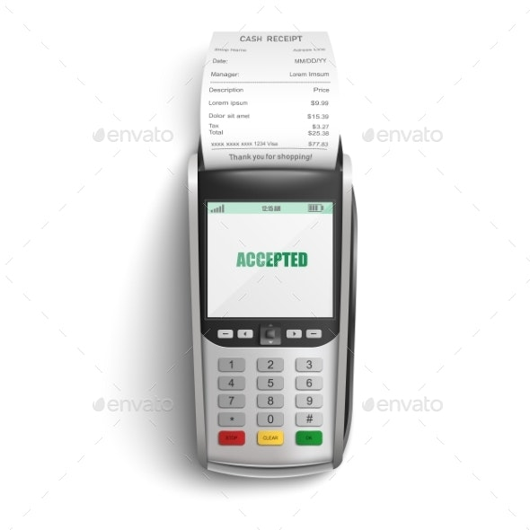 Bank POS Terminal for Payment of Purchases in Shop - Miscellaneous Vectors
