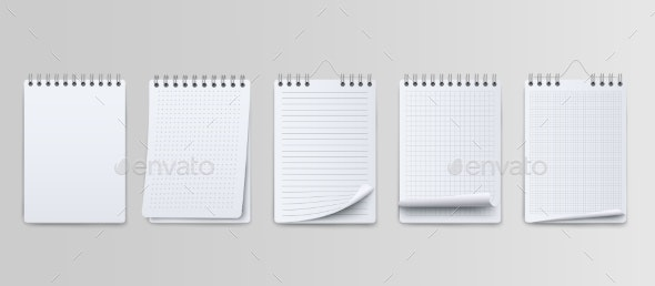 Realistic Notebooks Lined and Dots Paper Page - Miscellaneous Vectors