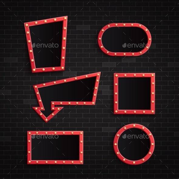 Vector Illustration Set of Retro Red Blank Frames - Backgrounds Decorative
