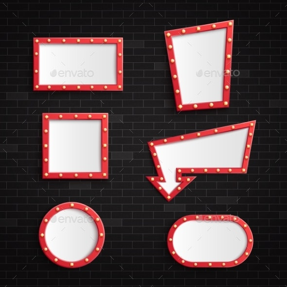 Retro Red Blank Frames with Illuminated Light - Backgrounds Decorative