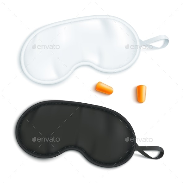 White and Black Sleeping Mask with Earplugs - Man-made Objects Objects