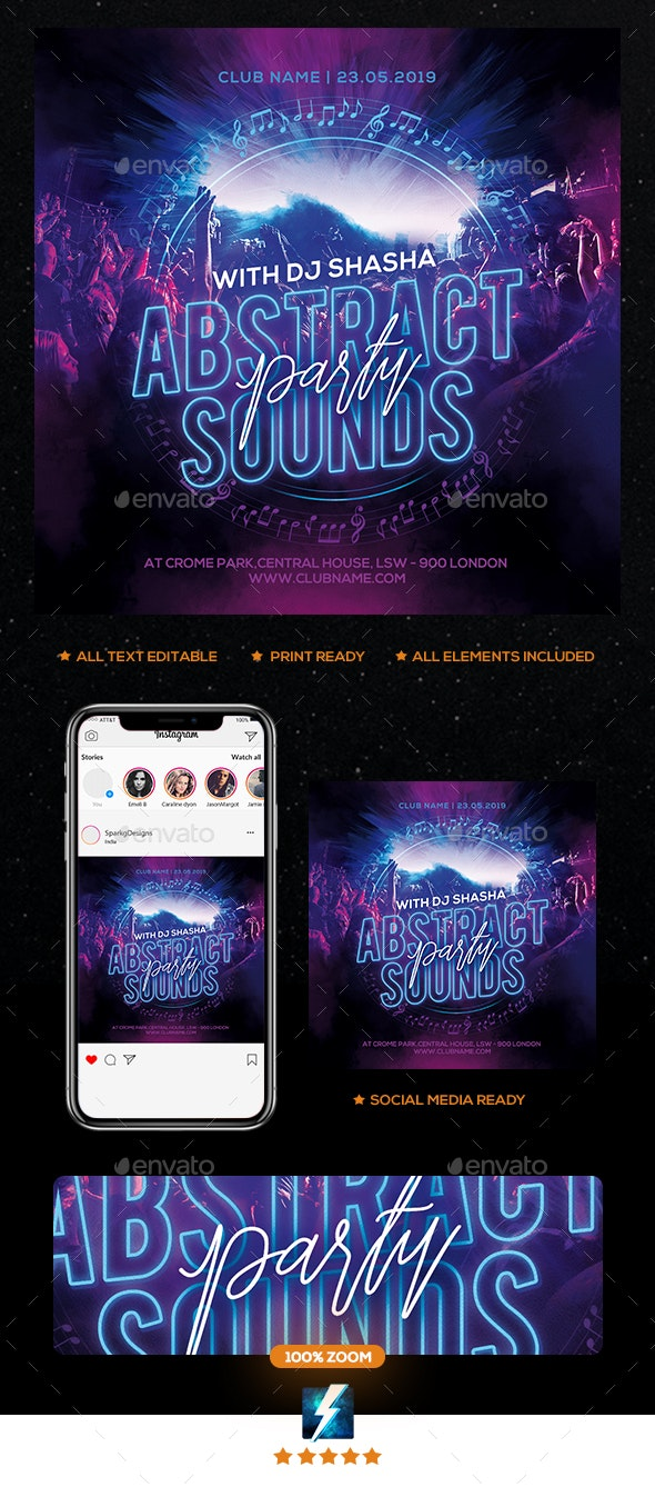 Abstarct Sound Party Flyer - Clubs & Parties Events