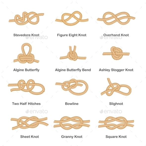 Set of Various Types of Nautical Loops and Knots - Man-made Objects Objects