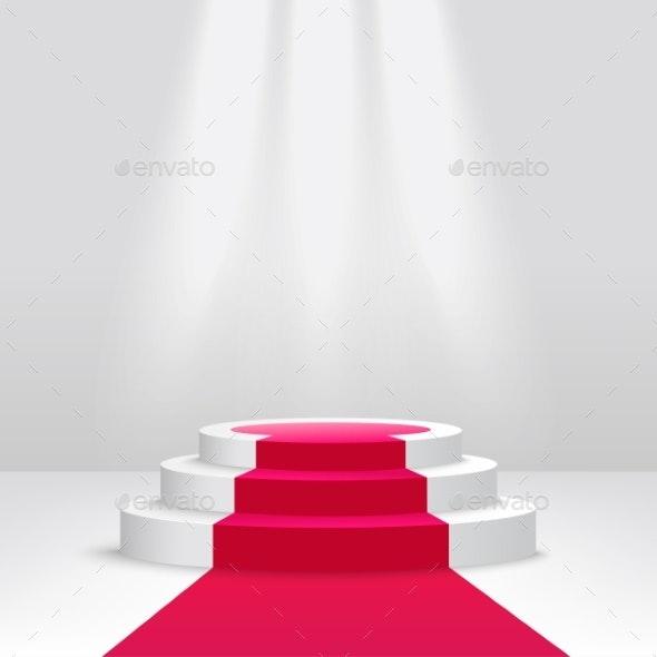 Podium or Pedestal with Spotlight Scene Vector - Miscellaneous Vectors