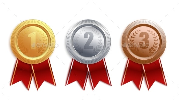 Set of Gold Silver and Bronze Badges with Red Ribbon - Miscellaneous Vectors