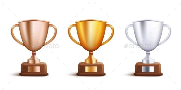 Victory Award Cup Set for Competitition Winners - Man-made Objects Objects