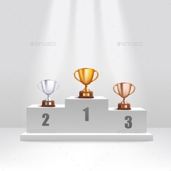 Golden and Silver and Bronze Trophy Cups Stand - Man-made Objects Objects