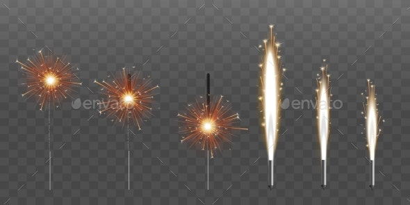 Firework Fountain of Sparks or Pyrotechnic Candle - Miscellaneous Seasons/Holidays