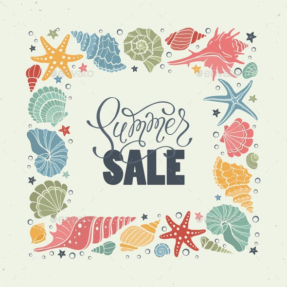 Sea Shells Summer Sale Illustration