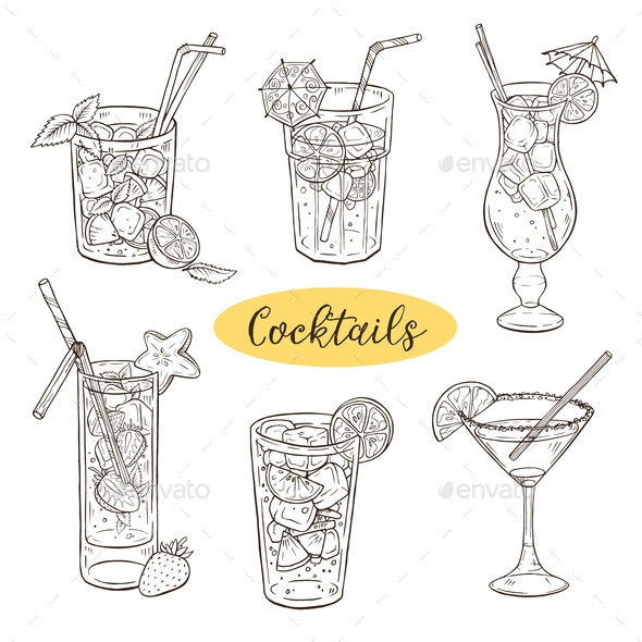 Hand Drawn Cocktails Vector Illustration - Food Objects