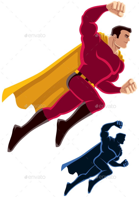 Superhero Flying Attack - People Characters