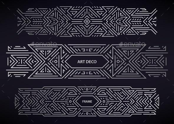 Set of Vector Art Deco Silver Borders - Abstract Conceptual