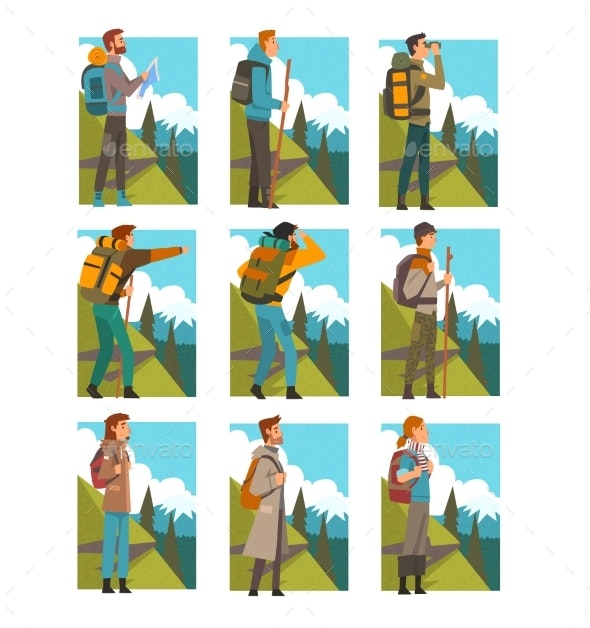 Tourists Hiking in Mountains with Backpacks Set - Sports/Activity Conceptual