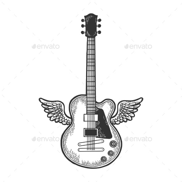 Electric Guitar with Wings Sketch Engraving Vector - Sports/Activity Conceptual