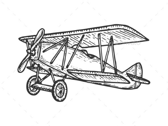 Vintage Airplane Sketch Engraving Vector - Man-made Objects Objects