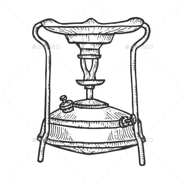Primus Stove Sketch Engraving Vector Illustration - Miscellaneous Vectors
