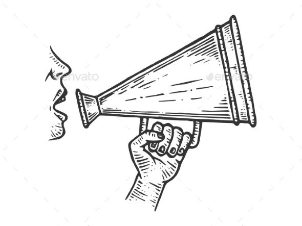 Loudspeaker Speech Engraving Vector - Industries Business
