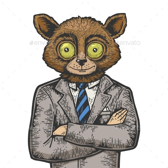 Tarsier Businessman Color Sketch Engraving Vector - Miscellaneous Characters
