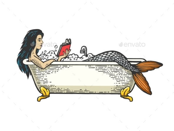 Mermaid Reading Book in Bath Color Sketch Engraving - Miscellaneous Characters