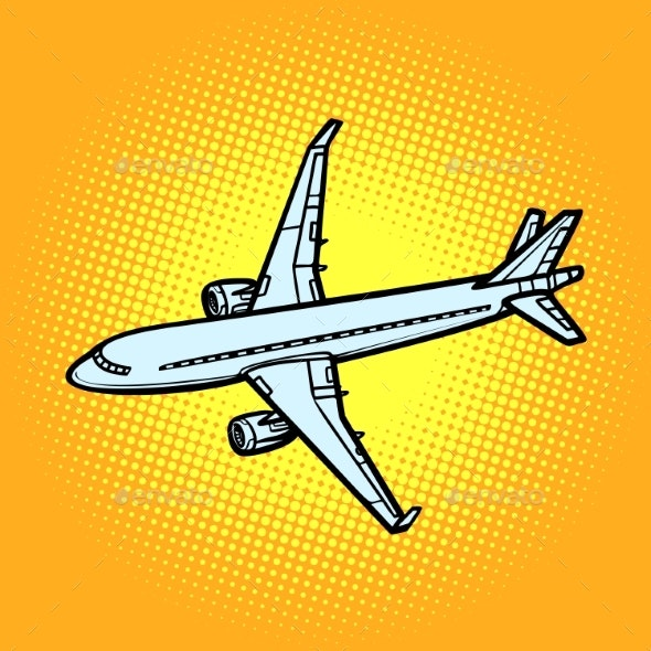 Aircraft Air Transport Yellow Background - Travel Conceptual