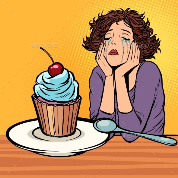 Lonely Unhappy Woman Cupcake Dessert - Food Objects