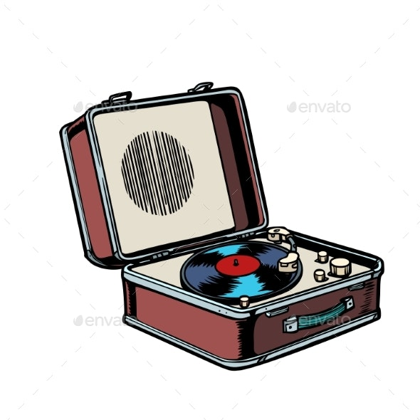 Retro Vinyl Record Player - Man-made Objects Objects