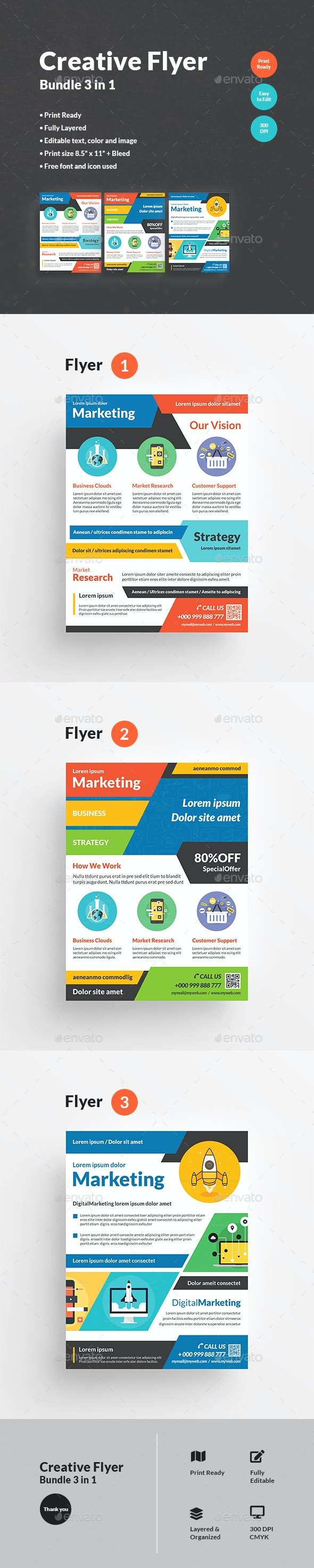 Creative Flyer Bundle 3 in 1 - Corporate Flyers