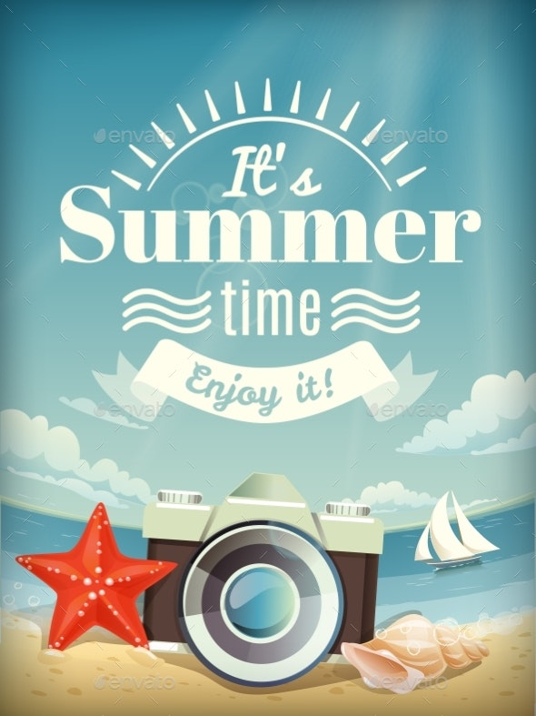 Summer  Poster or Card with Summer Elements - Landscapes Nature