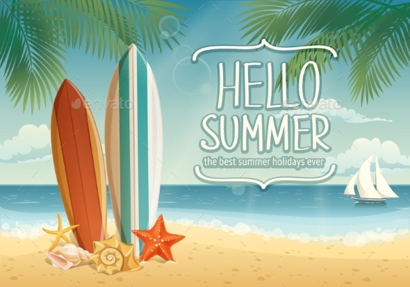 Vector Hello Summer Card or Poster with Summer - Seasons Nature