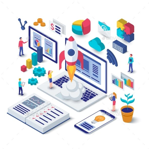 Business Startup Isometric Concept