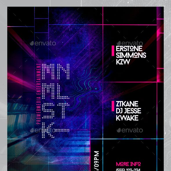 Abstract Electronica Music Party Flyer