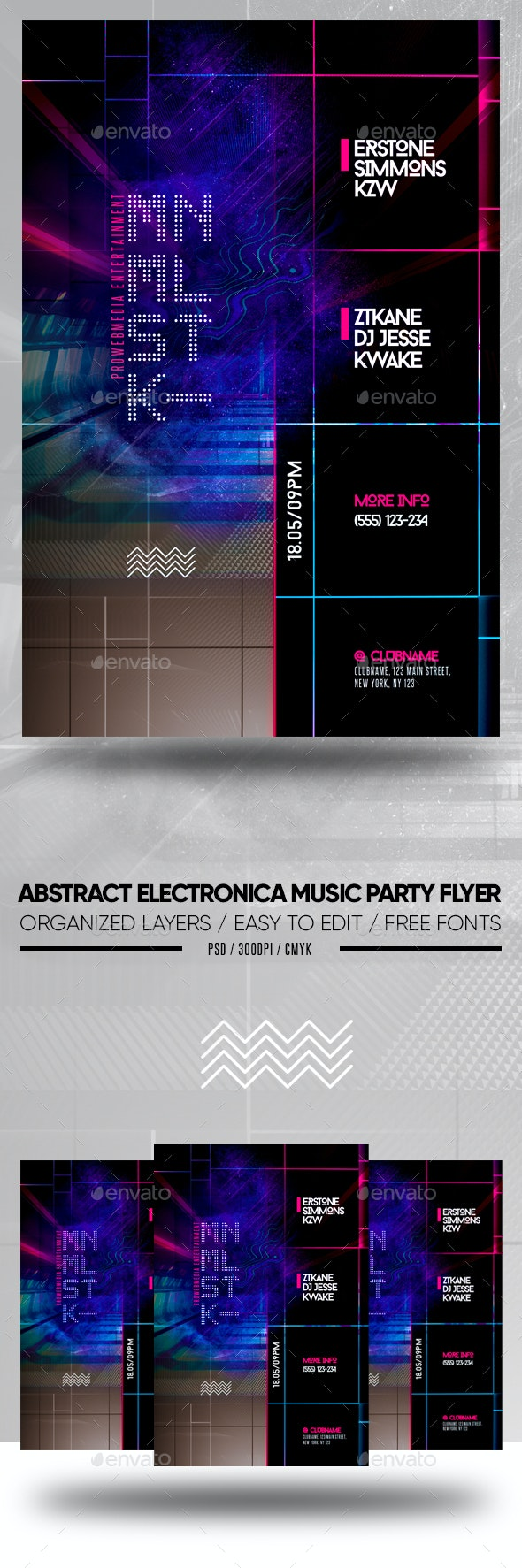Abstract Electronica Music Party Flyer - Clubs & Parties Events